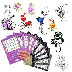 10 Pack Nail Art Sticker Water Decals Foil Adhesive UV Gel P