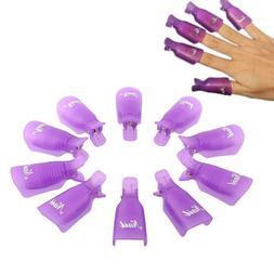 10 Pcs Plastic Nail Soak Off UV Gel Art Polish Remover Wrap