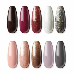 MEFA 12 Pcs Soak Off Gel Nail Polish, 10 Colors Gel + 1 Base