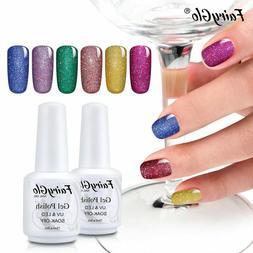 FairyGlo® 15ml Nail Gel Varnish Neon Bling Glitter UV LED G