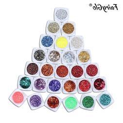 27 Nail Art Gel Polish Make Up Body Glitter Shimmer Dust Tip