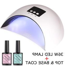 CLAVUZ 36W Soak Off UV LED Nail Light Lamp with Top Coat Bas