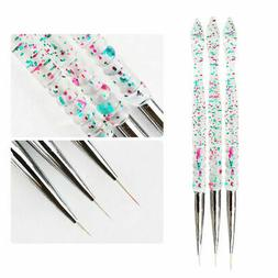 3Pcs Nail Art Pen Dotting Drawing Painting UV Gel Liner Poli