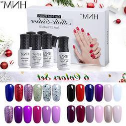 6 Colors Gel Nail Polish Set HNM Manicure Soak Off UV LED Na