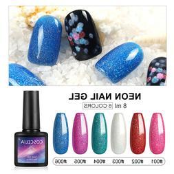 6Pc Glitter Nail Gel Soak Off Nail Polish Gel Kit Rainbow Co