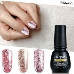 FairyGlo® 7ml Glitter UV Gel Nail Polish Rose Gold Soak Off