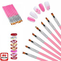 8Pcs Nail Art Brush Gradient Draw Polish Painting UV Gel Lin
