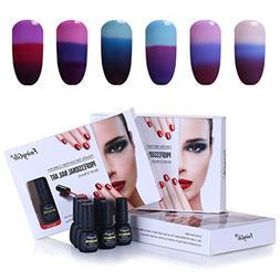 6PCS Colour Changing Gel Polish Lacquer UV LED Soak Off Nail