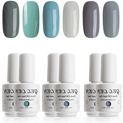 Gellen Cold Gray Series 6 Colors Gel Nail Polish, UV LED Soa