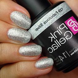 Pink Gellac #129 Fabulous Silver Glitter European Soak-Off U