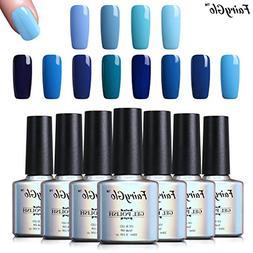 Gel Nail Polish 12pcs Blue Colour Soak Off Elegant Lacquer V