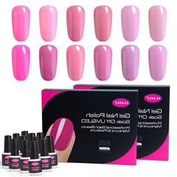 CLAVUZ Gel Nail Polish Kit Soak Off 12pcs Pink Nail Polish N