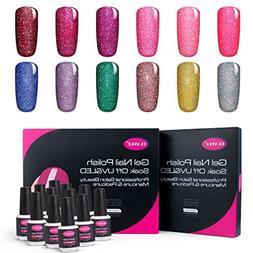CLAVUZ Gel Nail Polish Kit Soak Off UV LED 12pcs Neon Bling