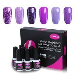 CLAVUZ Gel Nail Polish Kit 6pcs Soak Off UV LED Gel Nail Lac