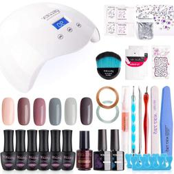 Gel Nail Polish Kit with UV Light 24W - Nude Grays 6 Colors