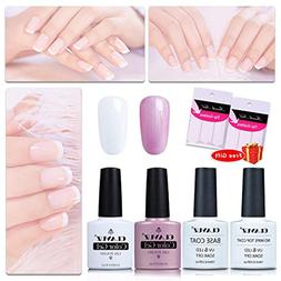 CLAVUZ Gel Nail Polish Pink White with Top and Base Coat Set