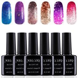 Gellen Gel Nail Polish Set 6 Colors, Temperature Color Chang