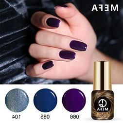 Gel Nail Polish Set of Blue Purple Collection Colors - 3pcs/