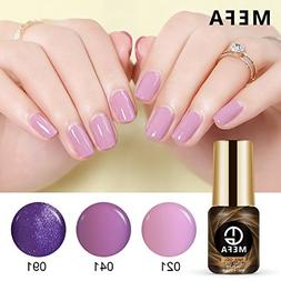 Gel Nail Polish Set of Glitter Purple Collection Colors - 3p