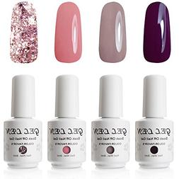 Gellen Gel Nail Polish Set Nude Glitter Collection Colors -