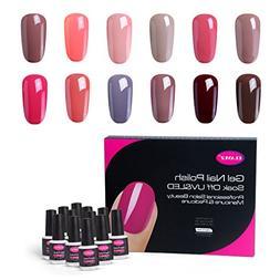 CLAVUZ Gel Nail Polish Set 12PCS Nude Soak Off UV Gel Lacque