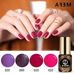 Gel Nail Polish Set of Red Purple Glitter Collection Colors