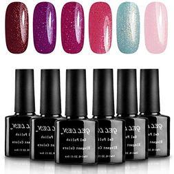 Gellen Gel Nail Polish Set Shimmering Bright Collection 6 Co