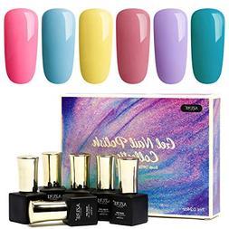 Gel Nail Polish Set - Rainbow Candy 6 Colors Nail Art Gift B