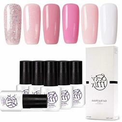 Gel Nail Polish Soak Off UV Pink Gel Kit Require Gel Base To