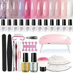 SEXY MIX Gel Nail Polish Starter Kit with UV Light, with Min