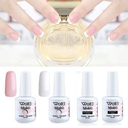Elite99 Gel Polish 4PCS White Pink French Manicure Nail Top