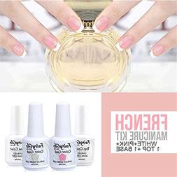 FairyGlo Gel Polish French Manicure Nail Base Top Coat Pink