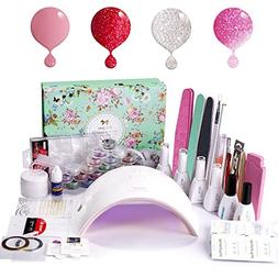 Gel Nail Polish Starter Kit with UV LED 24W Nail lamp Dryer