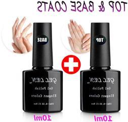 Gellen UV/LED Soak Off Gel Nail Polish Top Coat and Base Coa