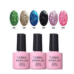 AIMEILI Glitter Gel Nail Polish Soak Off UV LED Gel Nail Lac