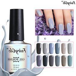 12pcs Grey Gel Nail Polish UV LED Soak Off Lacquer Nail Art