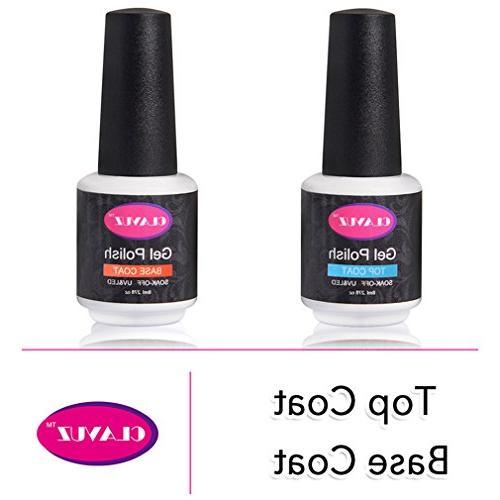 CLAVUZ Base and Top Coat Kit Set Soak Off UV LED Gel Nail Po