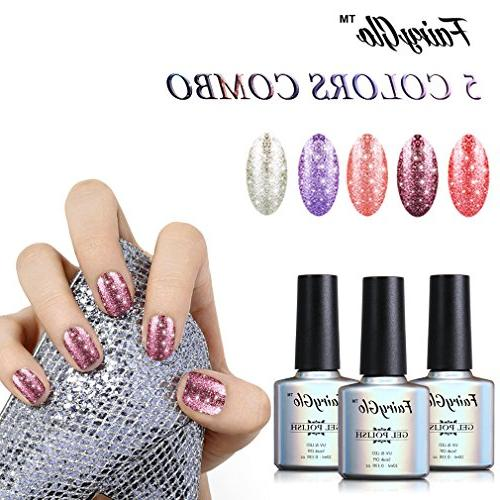 FairyGlo 5 Combo Platinum Gel Nail UV Manicure Art Gift Set Collection New Base Top 10ml