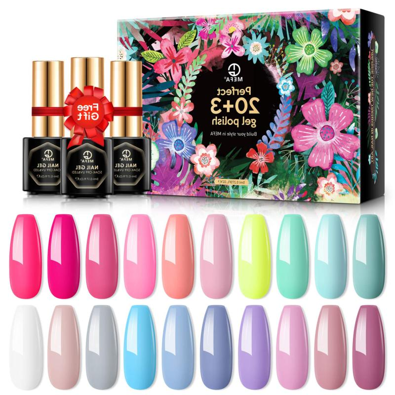 MEFA Gel Nail Polish Set 23 Pcs with Gifts Box - Soak Off UV