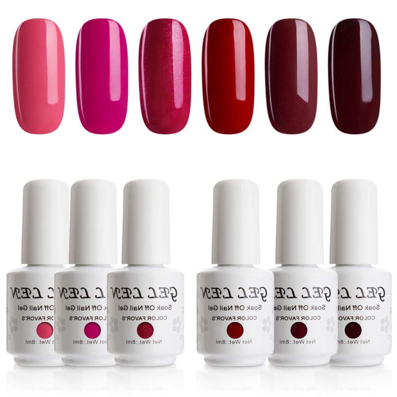 Gellen Gel Nail Polish Set Glamour Reds Magenta Maroon Trend