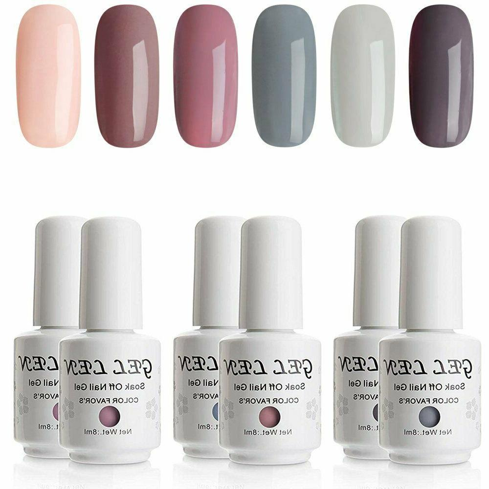 Gellen Gel Nail Polish Set - Nude Grays 6 Colors, Popular Na