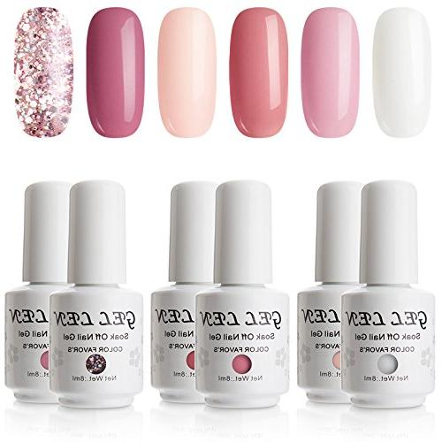 Gellen New Pink Series Gel Nail Polish Set - Selected 6 Colo