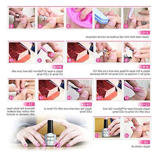 FairyGlo Platinum UV LED Soak Manicure Set Exclusive Beauty Collection New Base Top 10ml C58001