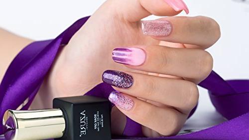 AZUREBEAUTY Gel Polish Set Pink Purple Glitter Colors LED Kit 8 PCS 0.24