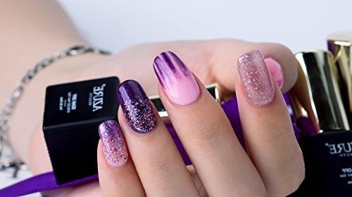 AZUREBEAUTY Gel Nail Set Pink Colors Soak UV LED Polish 8 0.24