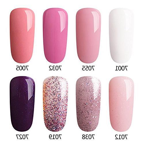 pink gel nail polish set