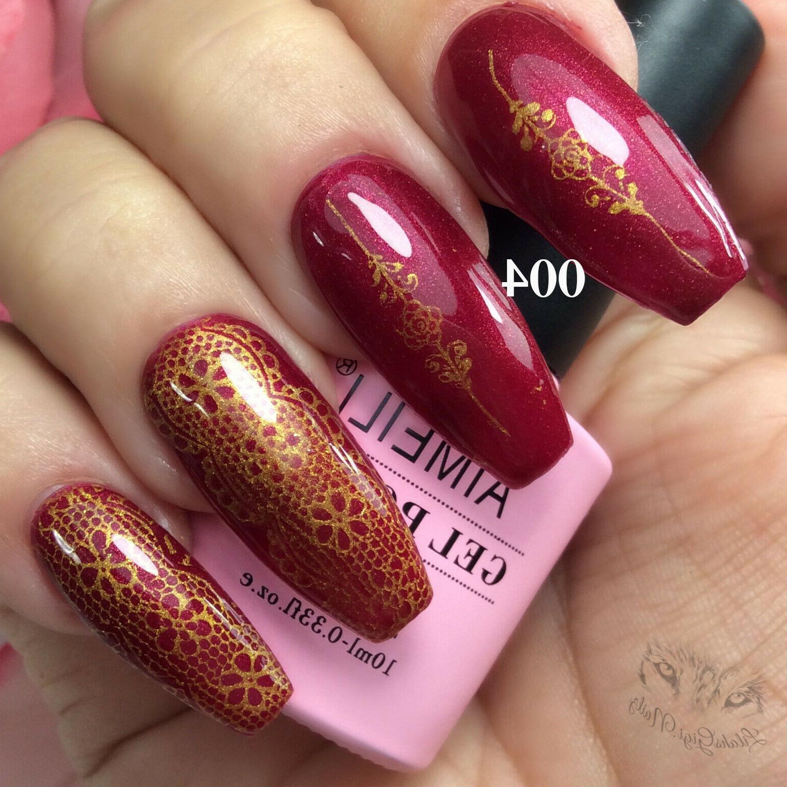 AIMEILI Soak Off UV LED Gel Nail Polish - Red Baroness  10ml