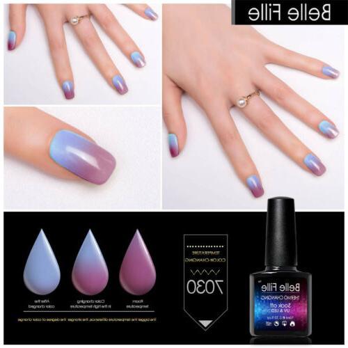 Belle Fille UV Polish Thermal Changing Glitter Soak BOX US