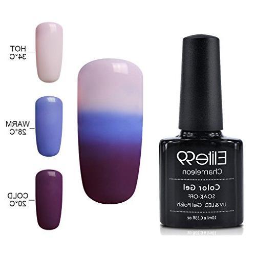 Elite99 Soak Off Gel Nail Polish,UV LED Three-color Thermal