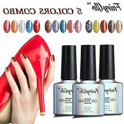 FairyGlo Well-Picked Color Combo Glitter Gel Nail Polish UV Soak